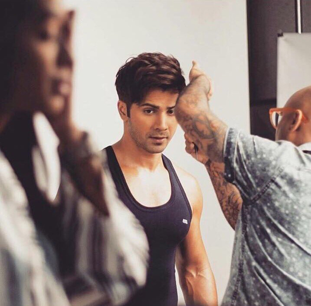Varun Dhawan shows off his buffy arms during an ad shoot