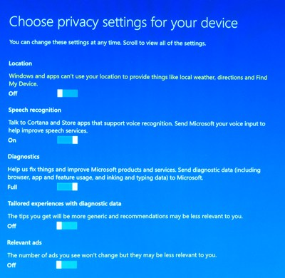 Windows 10 Creators Update Privacy Settings (photo NJN Network)