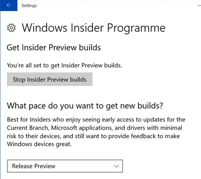 Windows 10 Settings Update - Windows Insider Programme (photo NJN Network)