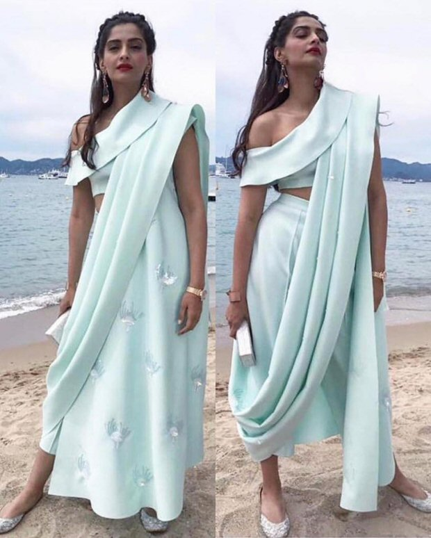Cannes 2017 Sonam Kapoor's trouser saree is perfect blend of Indian and western culture for this hot summer-5