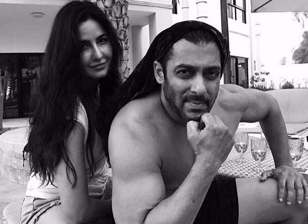 Katrina Kaif poses with a shirtless Salman Khan