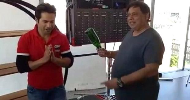 OMG! David Dhawan smashes a bottle on Varun Dhawan's head on the sets of Judwaa 2