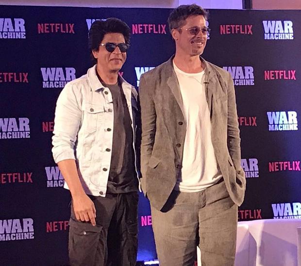 OMG! Superstars Shah Rukh Khan and Brad Pitt in one frame for Brad's Netflix film War Machine promotion is breaking the Internet-1