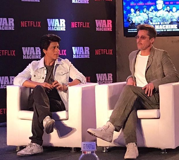 OMG! Superstars Shah Rukh Khan and Brad Pitt in one frame for Brad's Netflix film War Machine promotion is breaking the Internet-2
