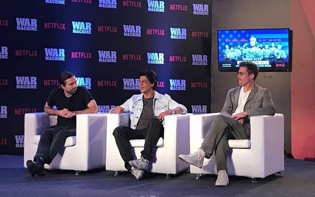 OMG! Superstars Shah Rukh Khan and Brad Pitt in one frame for Brad's Netflix film War Machine promotion is breaking the Internet-3