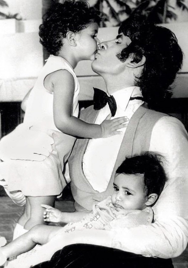 This throwback image of Abhishek Bachchan and Shweta Nanda with father Amitabh Bachchan on sets of Amar Akbar Anthony is just adorable