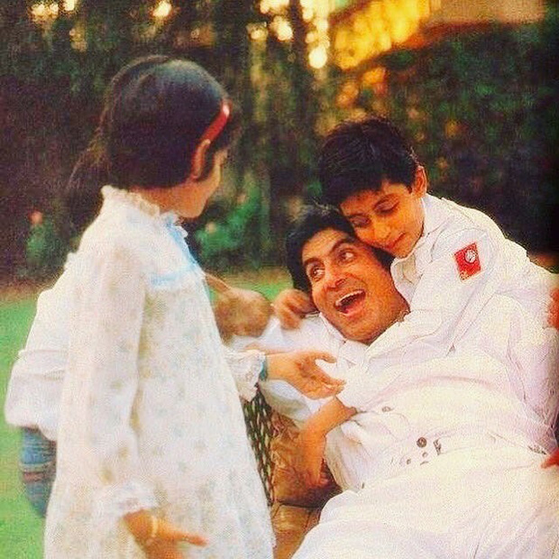 This picture of Abhishek Bachchan with his father Amitabh Bachchan and sister Shweta will give you family goals