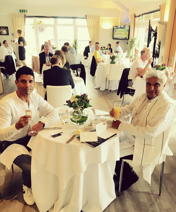 Check out Farhan Akhtar and Javed Akhtar watch the Wimbledon finals together in London (1)