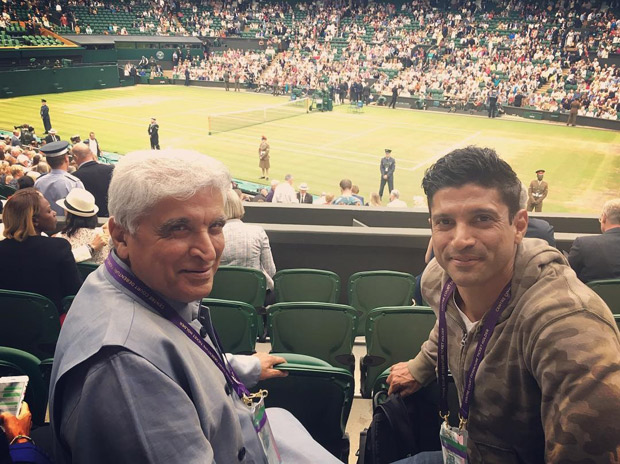 Check out Farhan Akhtar and Javed Akhtar watch the Wimbledon finals together in London (2)