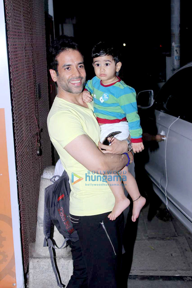 Tusshar Kapoor spotted with his son Laksshya Kapoor at the toddler gym