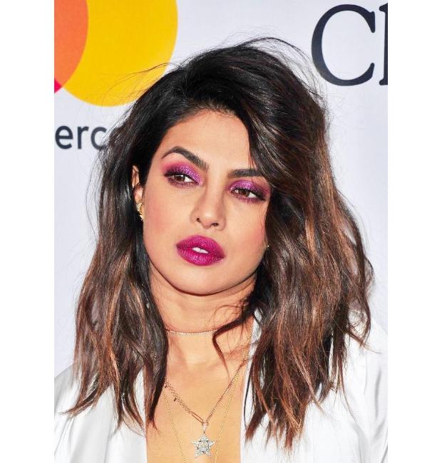 Priyanka Chopra in a stunning ultraviolet makeup at Clive Davis' Pre-Grammy 2018 party