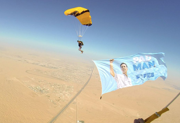 Watch: Dubai based girl jumps out of a plane to cheer Akshay Kumar for Pad Man