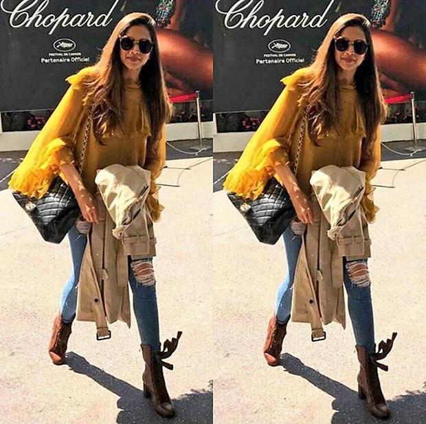 Deepika Padukone lands in Cannes in 2017 wearing a Chloe blouse