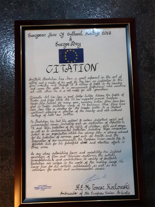 Amitabh Bachchan felicitated with citation by the European Union