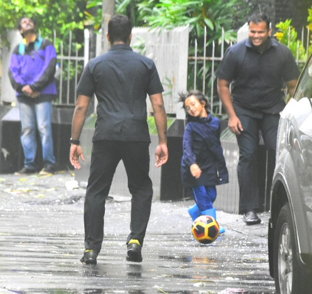 Aamir Khan's son Azad enjoys a RARE outing in rain, plays some football on the streets of Mumbai (see pics)