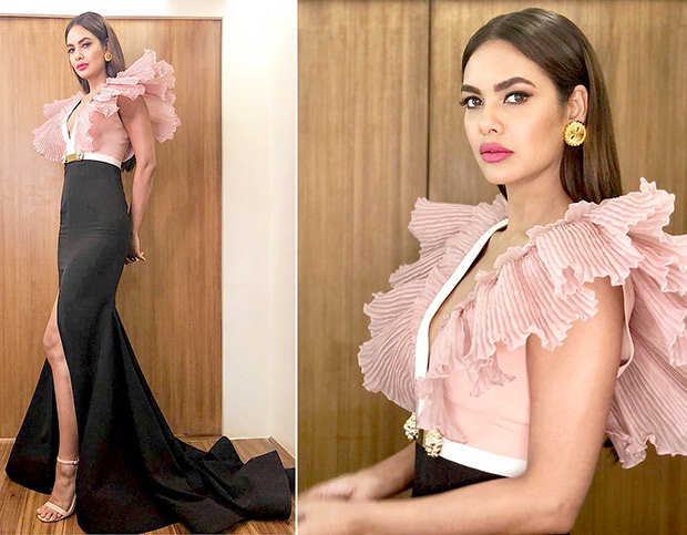 Esha Gupta in Alpana Mittal peach couture for High Fever... Dance Ka Naya Tevar (8)