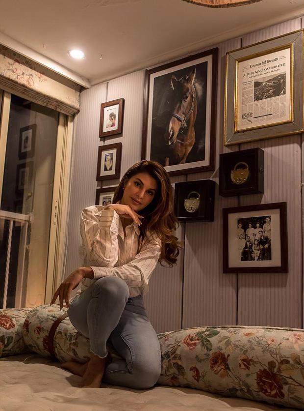 Race 3 actress Jacqueline Fernandez visits Gauri Khan's design store