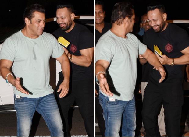 Salman Khan pokes fun at his bodyguard Shera while leaving for Dabangg Tour Reloaded at the airport