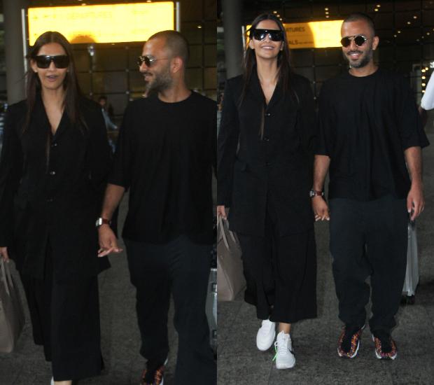 Airport Style - Sonam Kapoor Ahuja and Anand S Ahuja