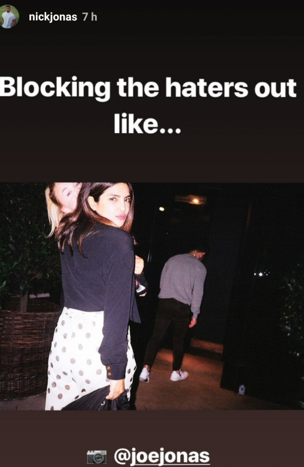 Nick Jonas sends a message to the 'HATERS' with a photo of Priyanka Chopra