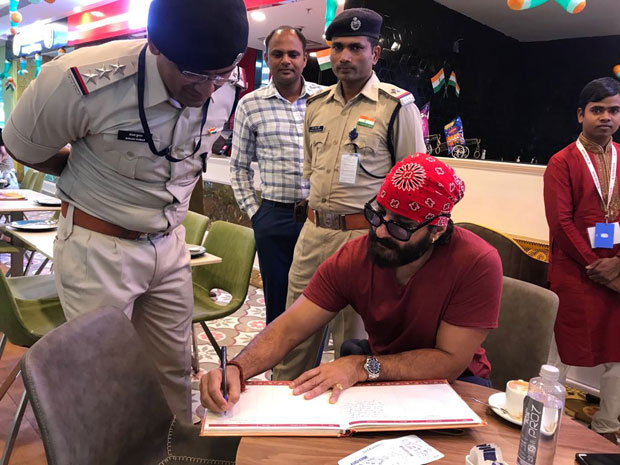 Saif Ali Khan interacts with the CISF forces in Indore