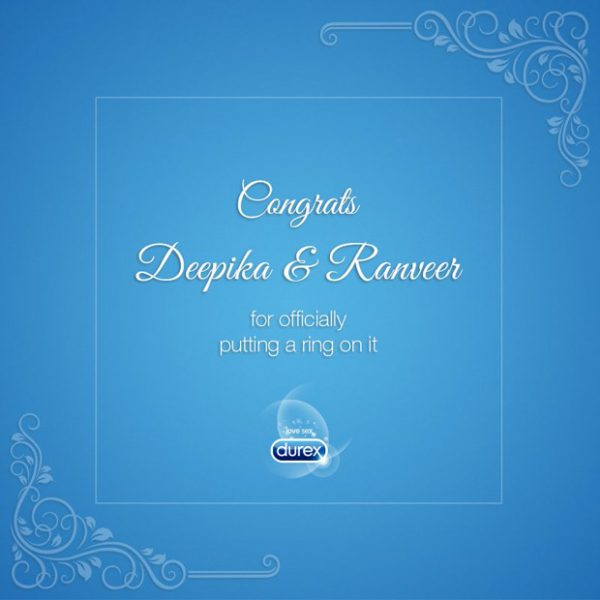 Deepika Padukone – Ranveer Singh wedding: Durex has a NAUGHTY congratulatory wish for the couple (see pic)