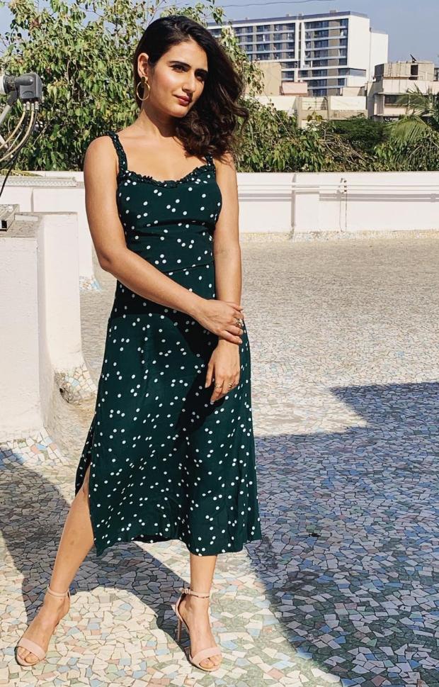 Fatima Sana Shaikh in Faithfull polka dot dress for Fossil event (1)