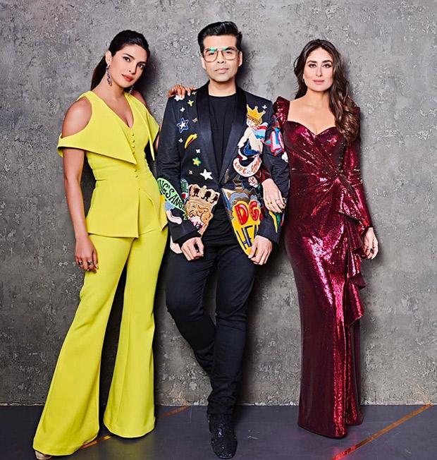 Kareena Kapoor Khan and Priyanka Chopra with Karan Johar for KWK 6