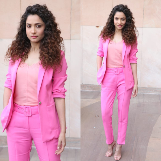 Ankita Lokhande in Cover story pink pantsuit (5)