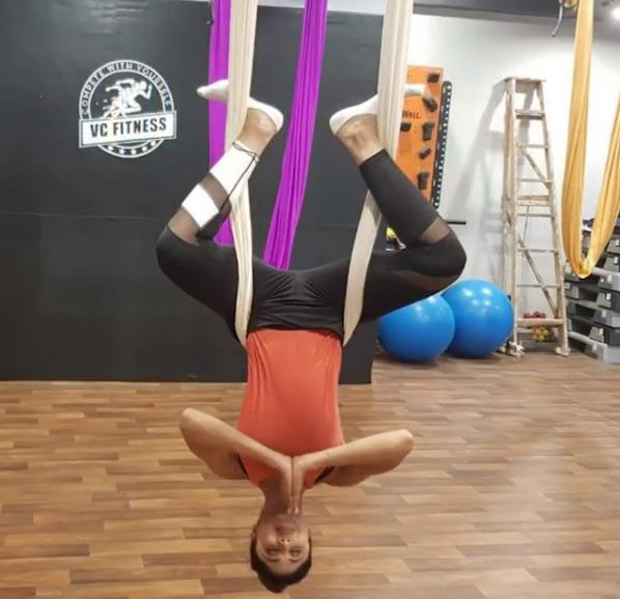 Shilpa Shetty Kundra tries Silk Yoga for the first time and she kills it like a pro