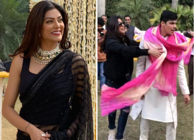 Sushmita Sen stuns in a black saree at a wedding with boyfriend Rohman Shawl, dances to her hit track 'Chunari Chunari'