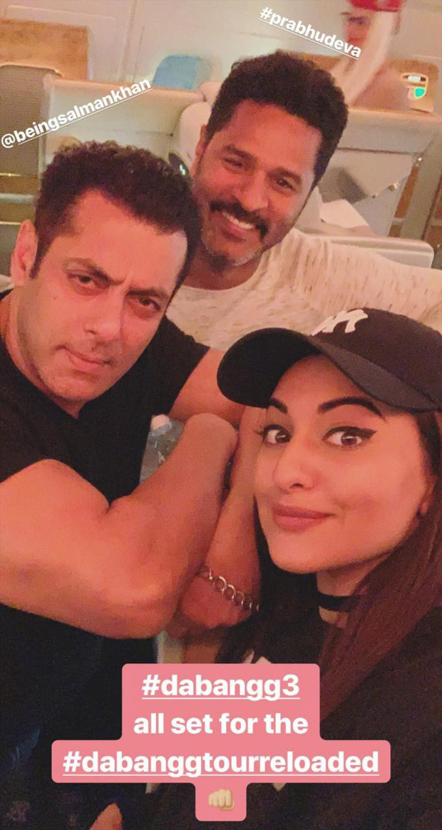Dabangg Reloaded 2019 - Sonakshi Sinha shares a selfie with Salman Khan and Prabhu Deva