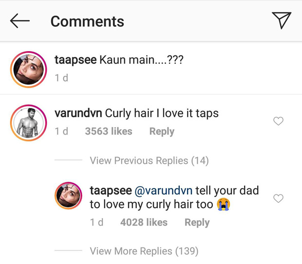 Varun Dhawan LOVES Judwaa 2 co-star Taapsee Pannu's curly hair but the actress is UPSET, here's why!