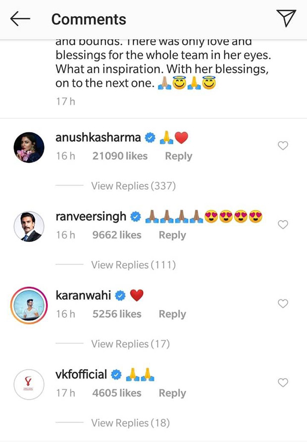 Here's how Anushka Sharma reacted to these photos of Virat Kohli humbly greeting the 87 year old Charulataji who attended the World Cup!