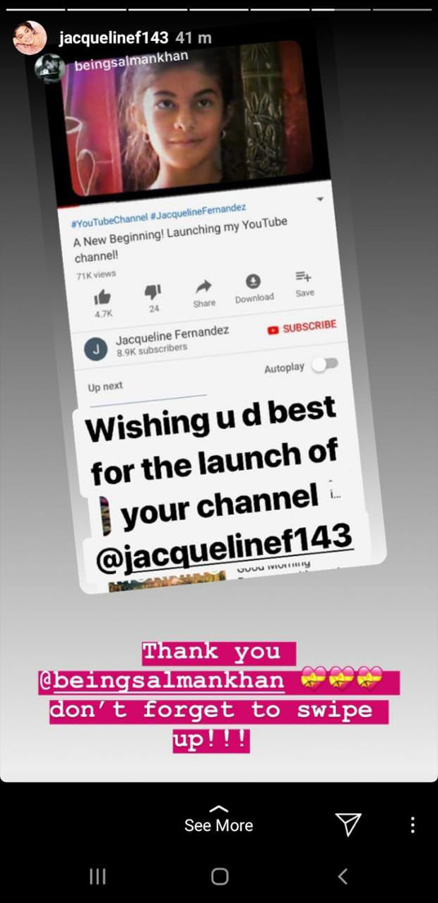 Salman Khan and Sonam Kapoor send all the love and luck to Jacqueline Fernandez for her YouTube channel