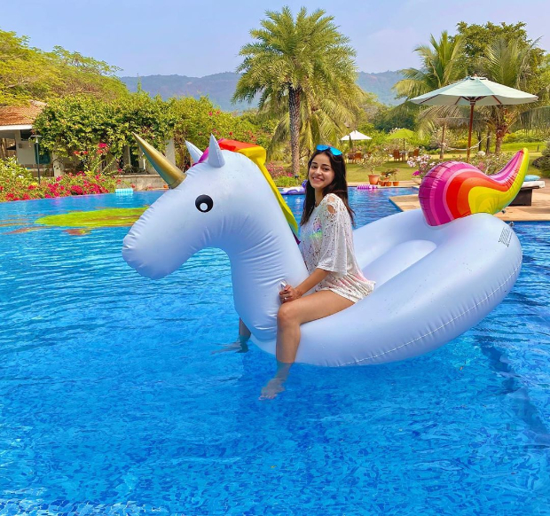 It's pool time for Ananya Panday with rainbows and unicorns