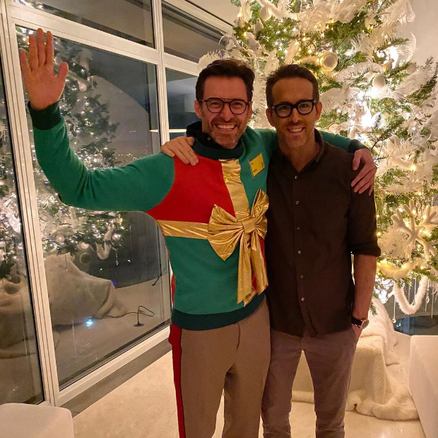 Ryan Reynolds and Hugh Jackman bring back their feud with Christmas Day sweater in these photos