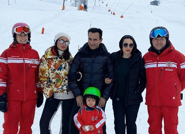 Saif Ali Khan, Kareena Kapoor Khan, Karisma Kapoor pose as they go sledding in Switzerland!