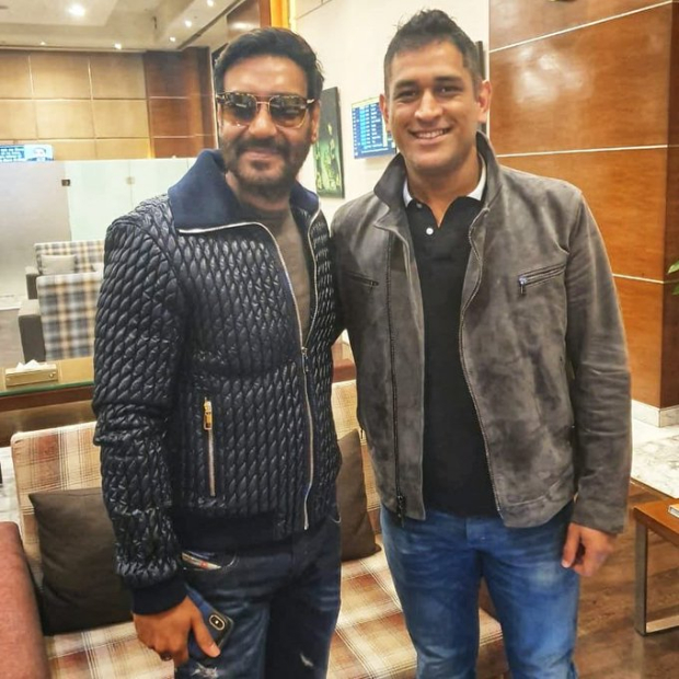 Bollywood meets Cricket! Ajay Devgn and MS Dhoni happily strike a pose
