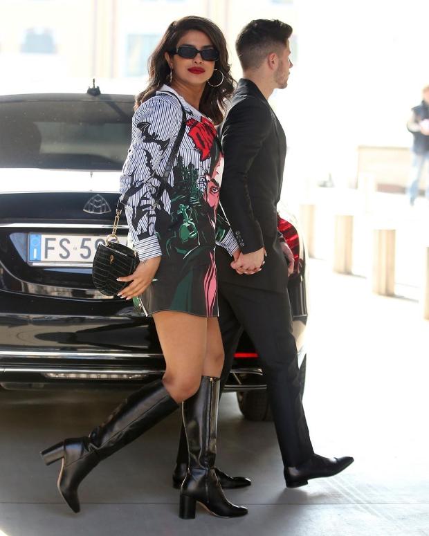 Priyanka Chopra steps out with Nick Jonas wearing a Moschino 'Dracula' shirt dress worth Rs. 45,971!