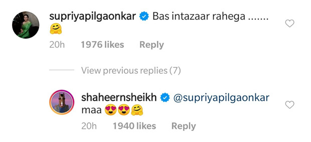 Shaheer Sheikh and Supriya Pilgaonkar's interaction on Instagram is absolutely wholesome