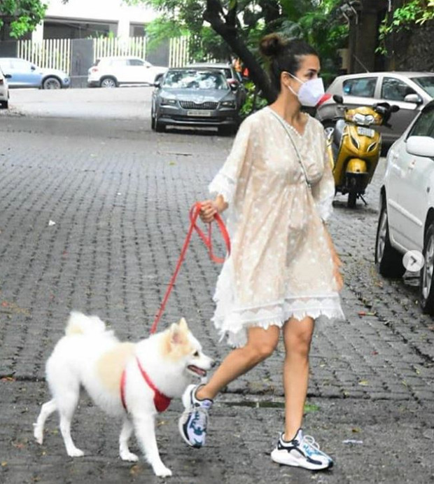 IN PICS: Malaika Arora steps out for a walk with her pet dog Casper
