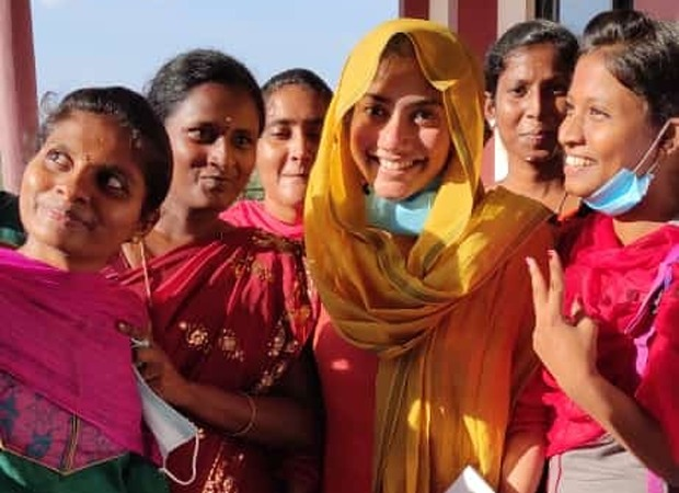 Sai Pallavi poses with fans at a college in Trichy as she appears for an exam