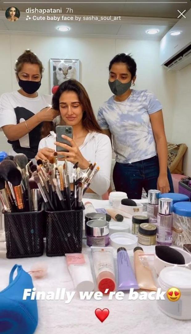 """Disha Patani resumes work, shares a still; """"Finally we're back"""""""