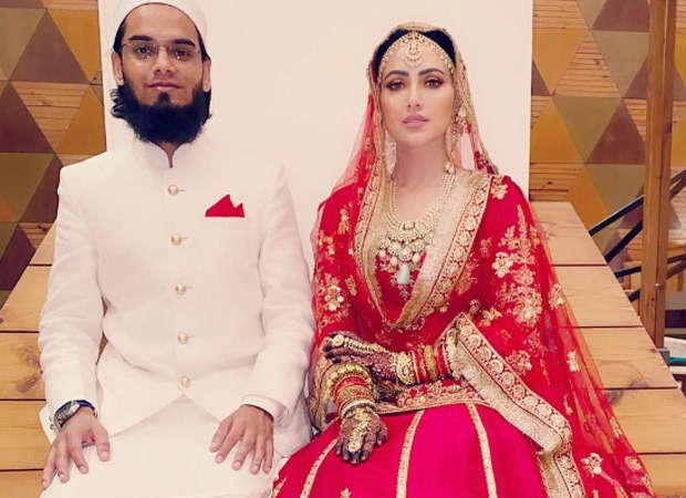 Sana Khan looks regal in bridal lehenga, shares first wedding photo with husband Mufti Anas