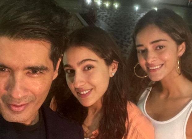 Sara Ali Khan and Ananya Panday pose happily with Manish Malhotra at Karan Johar's house party