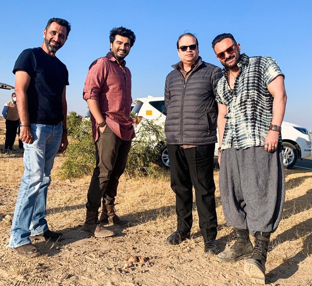 EXCLUSIVE: Arjun Kapoor and Saif Ali Khan pose on the sets of Bhoot Police in Jaisalmer