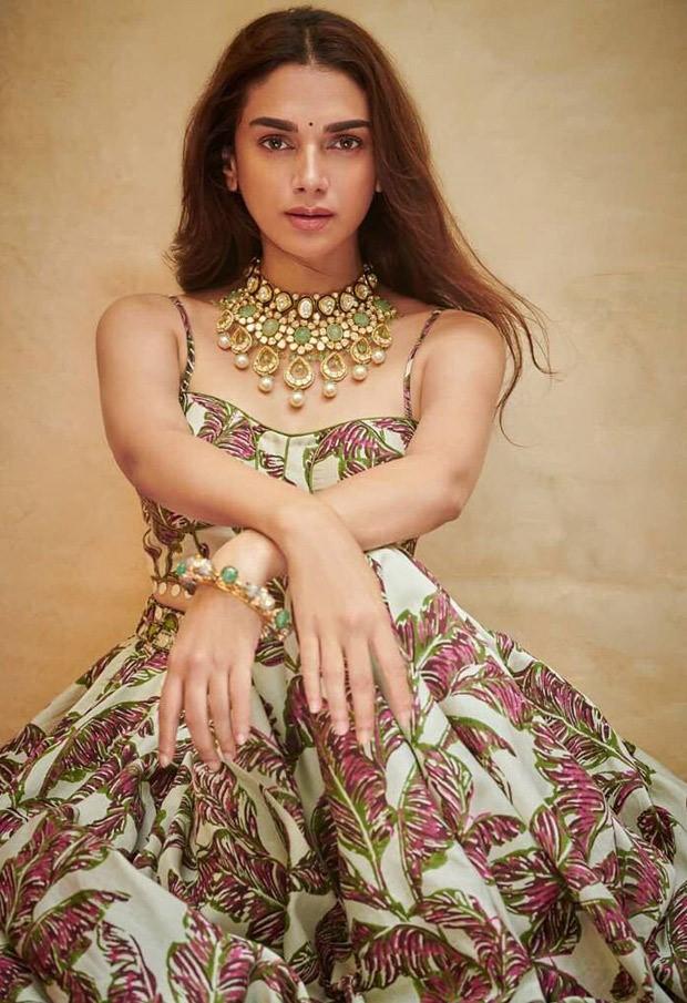 Aditi Rao Hydari's printed bralette and skirt set worth Rs. 40,000 is perfect mehendi ceremony outfit