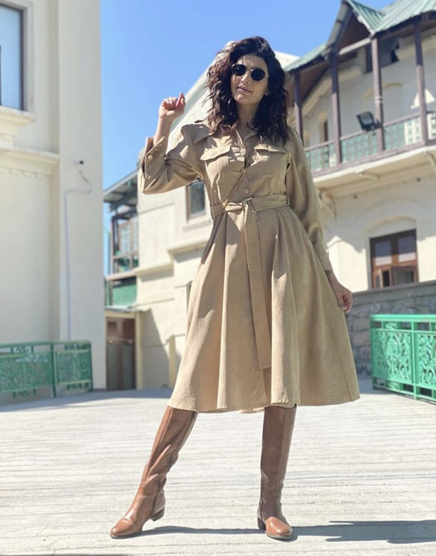 Karishma Tanna opts for affordable trench dress and pairs it with knee high boots