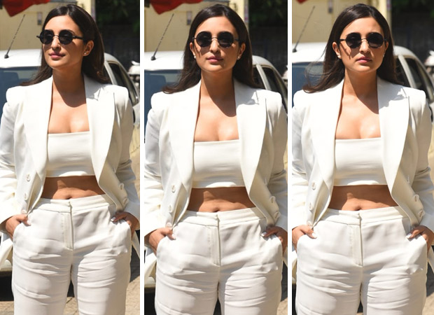 Parineeti Chopra's white tube top with white pants and jacket are apt for brunch outing